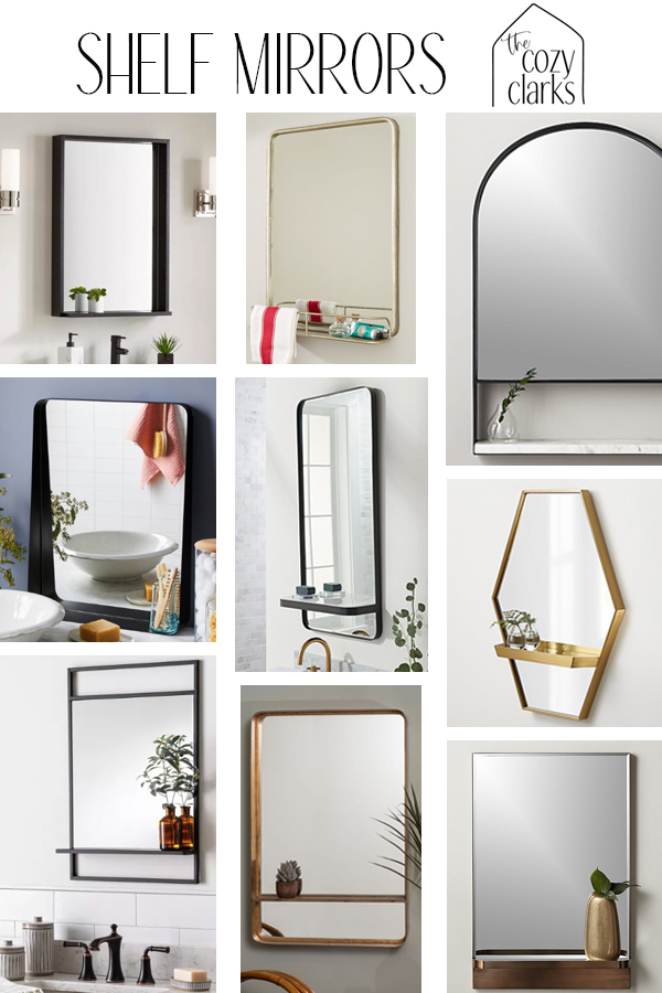 As I've been making plans for new mirrors in all of our bathrooms (they make such a difference!), I've noticed something on my Pinterest board and saved Instagram photos…shelves! I keep noticing shelf mirrors and I love the idea of having a little space to place a plant or even store a toothbrush.