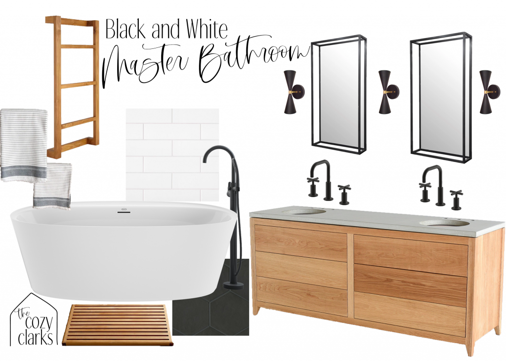 Black and white is such a versatile color scheme—you can liven it up with bright towels, or ground it with natural colors and textures. That's why it's perfect for a modern farmhouse master bathroom.