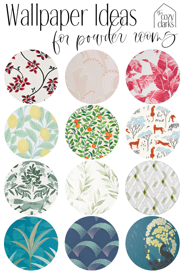 I've been shopping for some different options for wallpaper for our new powder bath. Today, I thought I'd share a bunch of options that I came across while we were shopping for wallpaper.