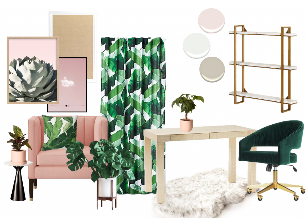 Finally having my home office to myself means one thing: I'm painting the ceiling pink. Click to read about the other decisions I've made for my pink and green home office.