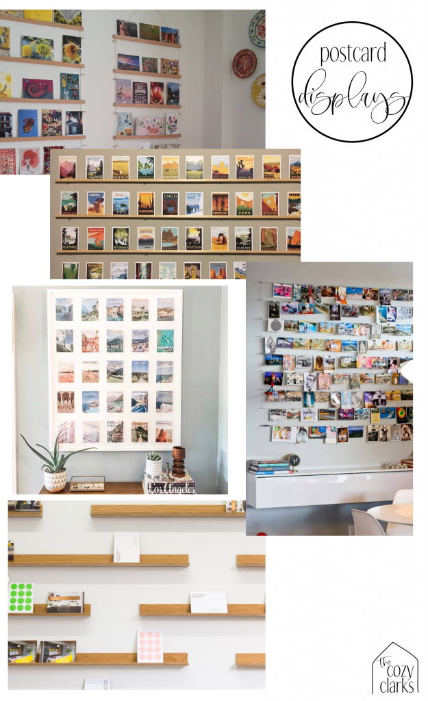 I've been searching for a creative way to incorporate my postcard collection in our home. I'm still hunting for just the right idea, but here are a few inspiration images I've found that I'm considering in the process.