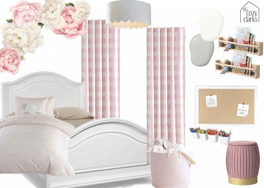 A sweet pink girls room mood board, perfect for a little one but that will also grow up with her! Click to see what we've got in store for this girl's room—with lots of storage, space for coloring, and a sweet window bench for reading.