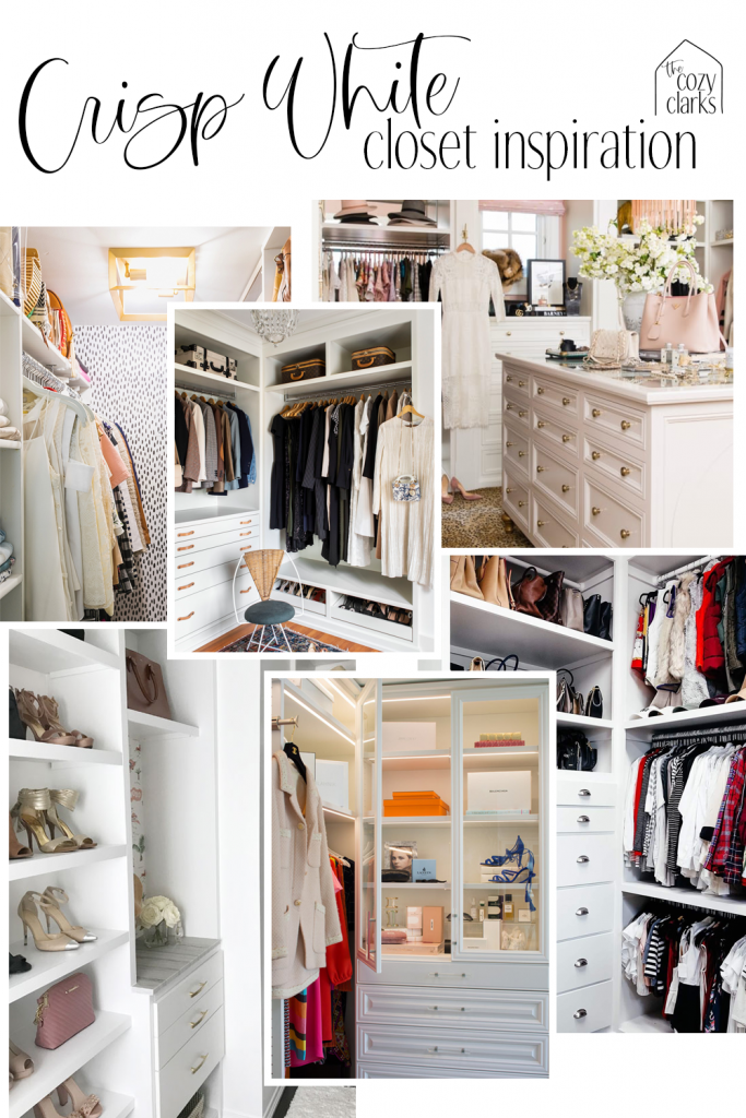 White is such a great option for a master closet because it keeps the lighting neutral, allowing you to really see the shades of your clothes and see what goes together. Click to see more closet inspiration!