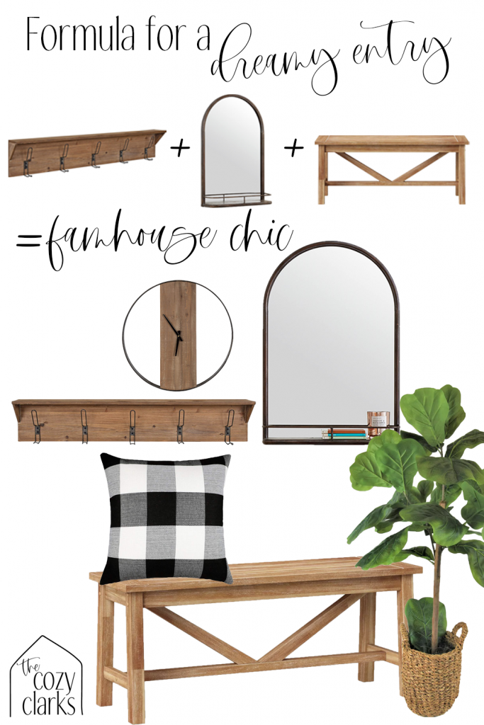 Dreaming of a farmhouse entry? Tap to see how to create the perfect vibe with hooks, a mirror, and a bench.