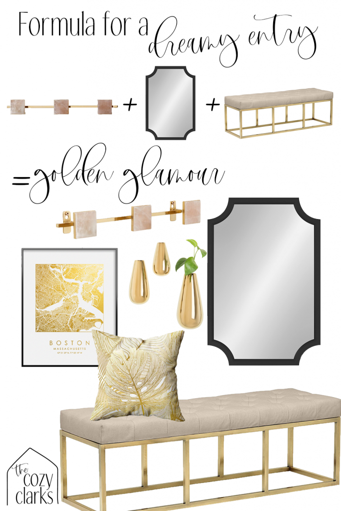 The perfect formula for a chic entryway? Hooks, a mirror, and a bench. Combine them for a gold and glamorous entryway. Tap to see more entryway inspiration on The Cozy Clarks.
