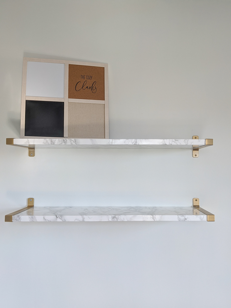 Click to see how I made these Ikea hack marble and gold floating shelves—and let me know whether you think it was a flip or a flop.