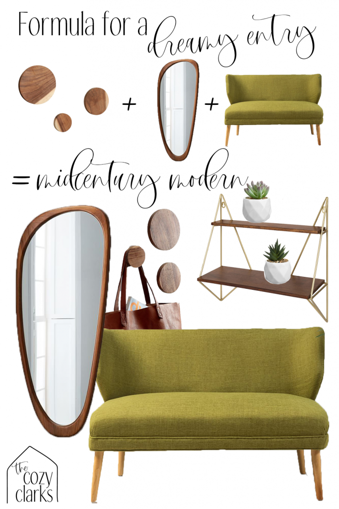 Combining hooks, a mirror, and a bench is the perfect way to define an entryway—even if your entry is more of a wall. Combine these elements for a midcentury modern entryway or tap to see more entryway inspiration on The Cozy Clarks.