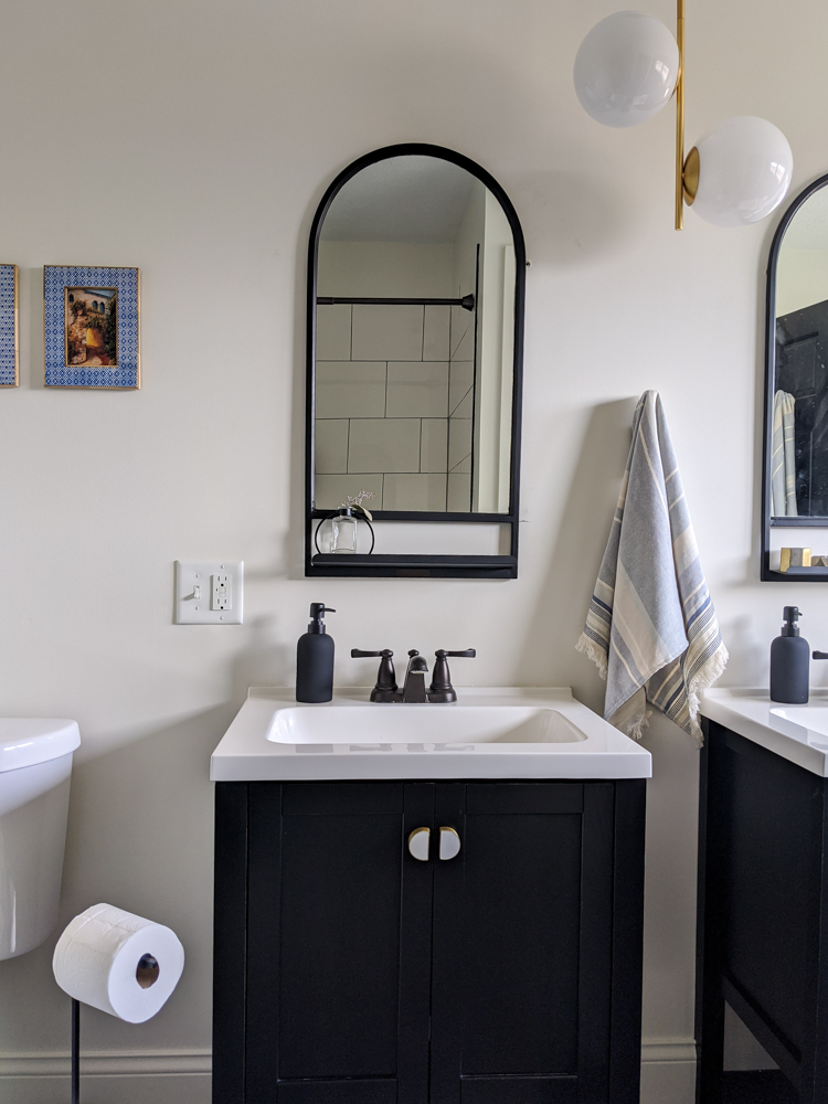 Whether because of a budget constraint or a global pandemic, it's not always possible to dive into a major renovation. But that doesn't mean you shouldn't do anything! We gave our guest bathroom a facelift with no contractors needed. Tap to read!