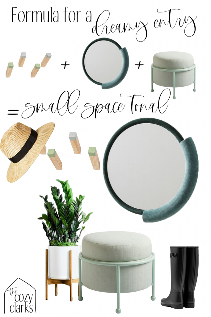 Combining hooks, a mirror, and a seat make for the perfect entryway formula—like this small space tonal example, with pretty shades of green! Tap to see more entryway inspiration.