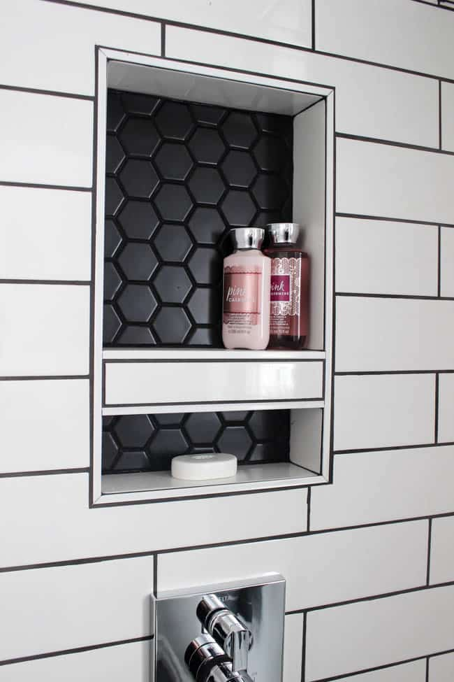 It's becoming absolutely urgent that we figure out the storage solution for our actual shower—or we're going to be a shampoo-bottle-on-the-floor couple forever, and we can't have that. So, the question is: Niche, Ledge, or Shelf?