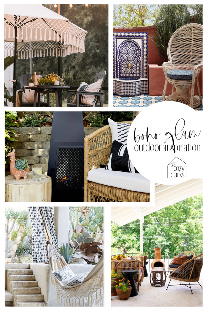 """See how these spaces have an element of bohemian flavor but still feel polished and intentional? Even glamorous? That's what we're going for on our patio. I guess you could call it """"Glam Boho"""" or """"Midcentury Moroccan."""""""
