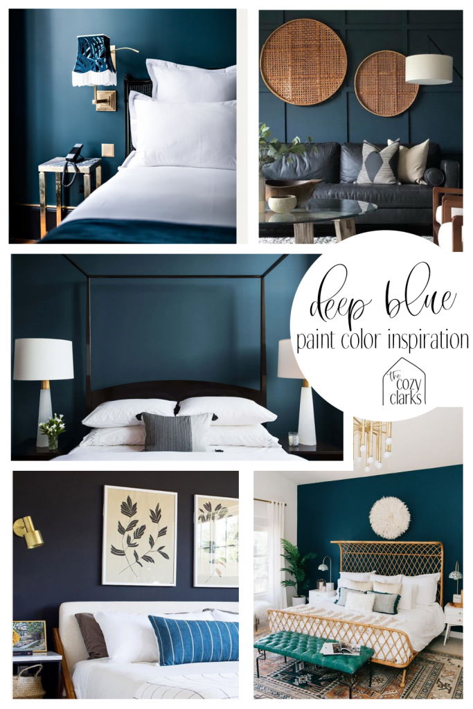 Navy blue: It plays beautifully with gold accents, blush, and mustard, while creating that enveloping sleep cave feeling. Here's why we picked Hague Blue for our bedroom paint color.