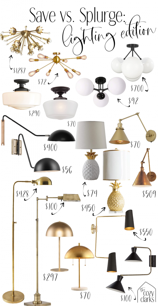 Whether you're looking for a budget-friendly flush mount or a show-stopping sconce, I'm rounding up all the trendy lighting you need—both the designer version and the budget-friendly option. That's right—it's save vs. splurge: lighting edition!