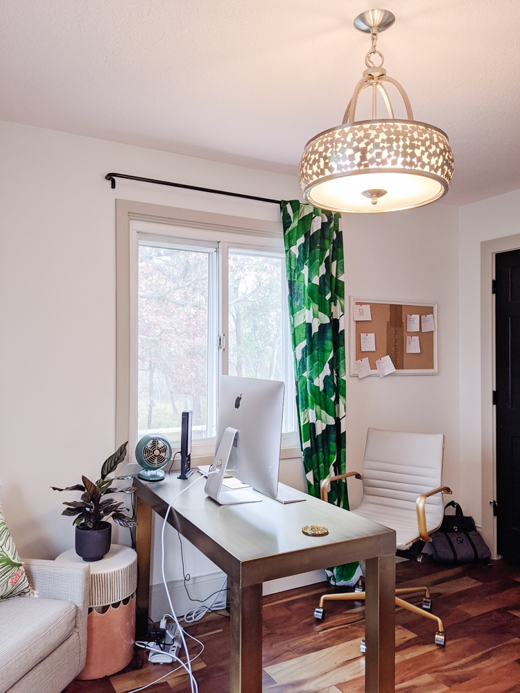 "This pink and green home office has great, inspiring energy for me while I'm working. I've decided just to show you how it is right now, because, even though it doesn't feel ""done,"" it does feel really good."