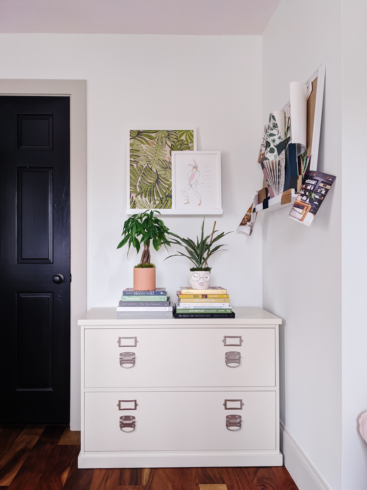"This pink and green home office has great, inspiring energy for me while I'm working. I've decided just to show you how it is right now, because, even though it doesn't feel ""done"" it does feel really good. And maybe you can help me find the missing piece!"