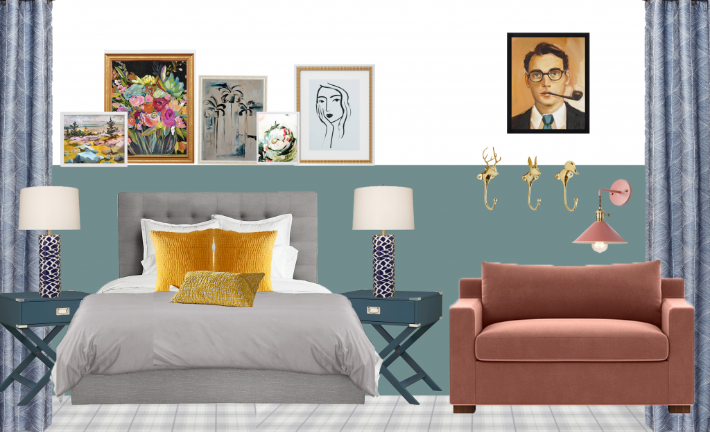 A mood board mockup for an Aegean Teal bedroom with colorful accents...click for every detail.