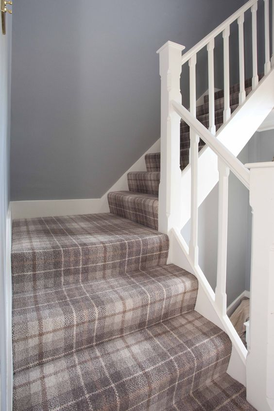 Inspired by these plaid carpet stairs? Me, too! Click to see an inspiration roundup and see how we're going to use plaid carpet, too.