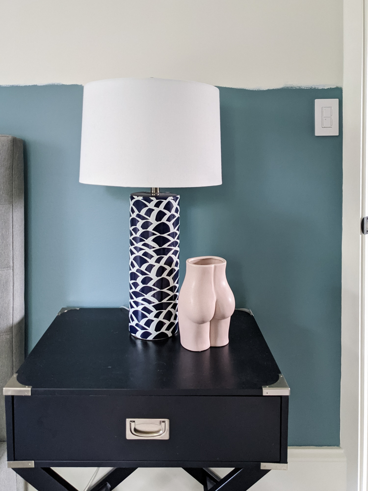 Here it is! An Aegean Teal guest bedroom. I love this color because it isn't dark, but it does have a depth to it.